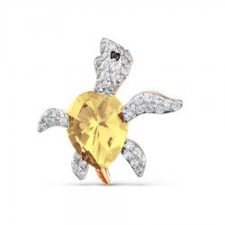 Золотая брошка Черепашка с цитрином и фианитами
