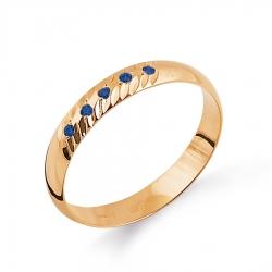Золотое кольцо обручальное с сапфирами