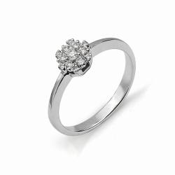 Кольцо в виде цветка из белого золота с бриллиантами