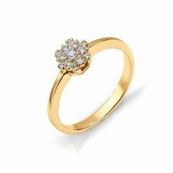 Кольцо из золота с имитацией большого бриллианта