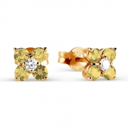 Золотые серьги-гвоздики с цитрином и фианитами