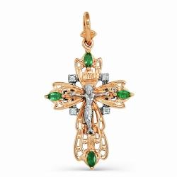 Крупный Мужской крестик с изумрудами и бриллиантами