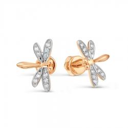 Золотые серьги гвоздики Стрекозы с бриллиантами