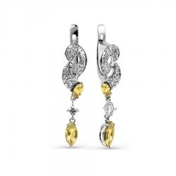 Серьги из белого золота с цитрином и фианитами