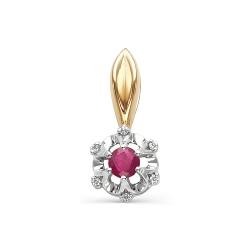 Золотая подвеска Цветок с бриллиантом и рубином