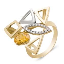Кольцо из золота 585 пробы с бриллиантами и цитрином