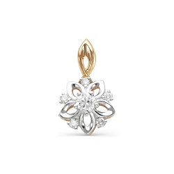 Золотая подвеска Цветок с бриллиантом