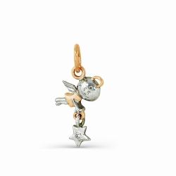 Золотая подвеска в виде ангела со звездой