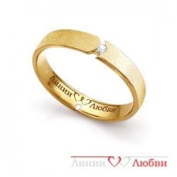 Кольцо обручальное из желтого золота с бриллиантами
