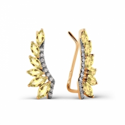 Золотые серьги с цитрином и фианитами