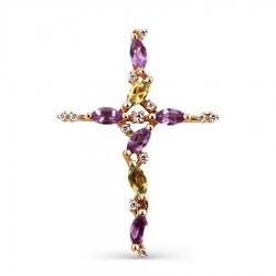 Золотой крестик с аметистами, цитринами, фианитами