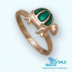 Детское золотое кольцо Черепаха с эмалью