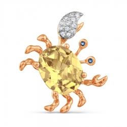 Золотая брошка Крабик с цитрином и фианитами