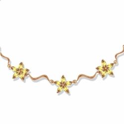 Золотое колье Цветы с цитринами