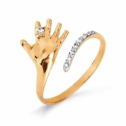 Золотое кольцо в виде детской ладошки с фианитами