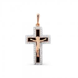 Мужской золотой крестик с эмалью, фианитами