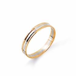 Кольцо обручальное из комбинированного золота