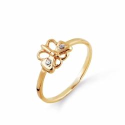 Детское золотое кольцо Бабочка с фианитами