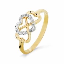Кольцо Бесконечность из желтого золота с фианитами