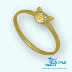 Детское кольцо Кот из желтого золота с фианитами