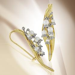 Серьги Цветы из желтого золота с белым жемчугом, бриллиантами