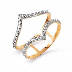 Золотое кольцо Геометрия с фианитами