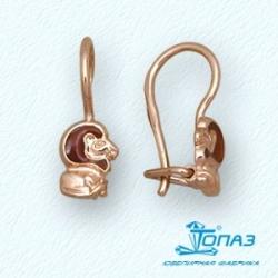 Детские золотые серьги Лев с эмалью
