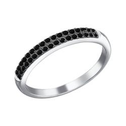 Кольцо из белого золота c черными бриллиантами SOKOLOV