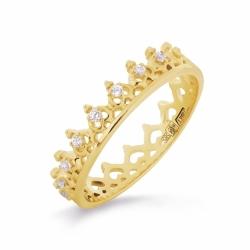 Кольцо Корона из желтого золота с фианитами
