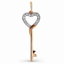 Золотая подвеска Ключ с фианитами