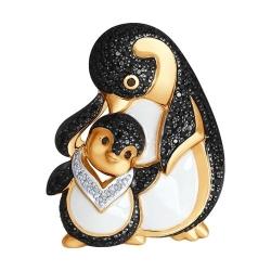 Брошь Пингивины из золота эмалью с бесцветными и чёрными бриллиантами
