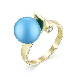 Кольцо из золота с бирюзой и бриллиантом