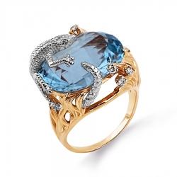 Золотое кольцо с топазом, бриллиантами