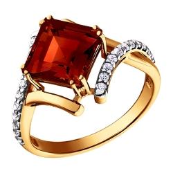 Золотое кольцо c гранатами и фианитами SOKOLOV
