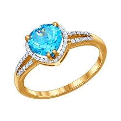 Золотое кольцо Сердце c топазами SOKOLOV