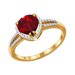 Золотое кольцо Сердце c гранатами и фианитами SOKOLOV