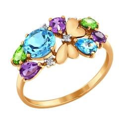 Кольцо Бабочка из золота с цветными камнями SOKOLOV