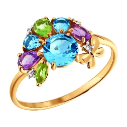 Золотое кольцо c цветными камнями SOKOLOV