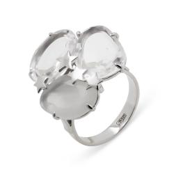 Эксклюзивное кольцо из белого золота с натуральным кварцем