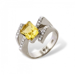 Кольцо из белого золота 585 пробы с фианитами и цитрином