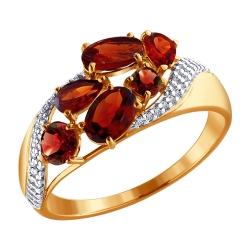 Кольцо из золота с гранатами и фианитами SOKOLOV