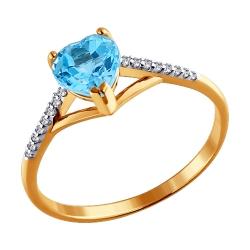 Кольцо Сердце из золота с топазами SOKOLOV