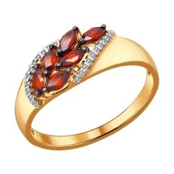 Кольцо из золота Листья с гранатами SOKOLOV