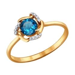 Кольцо Цветок из золота с топазами SOKOLOV