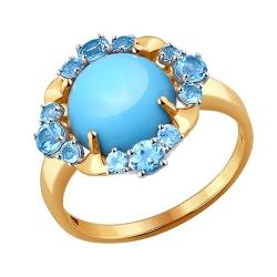 Золотое кольцо с бирюзой SOKOLOV