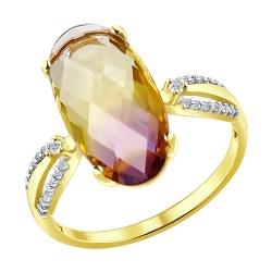 Кольцо из желтого золота с ситаллом и фианитами