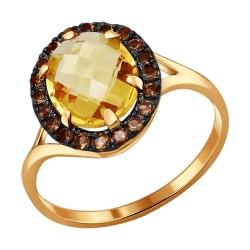 Золотое кольцо с цитрином и раух-топазами SOKOLOV