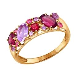 Золотое кольцо с родолитом SOKOLOV