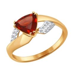Золотое кольцо с грантом и фианитом SOKOLOV