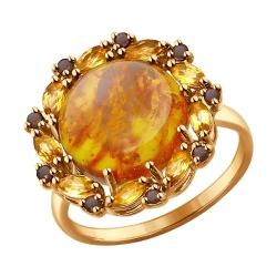 Золотое кольцо с цитринами и раухтопазом SOKOLOV